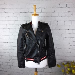 New Blank NYC Faux Leather Moto Jacket Black S
